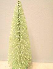 """8"""" Lt. Lime Green Flocked Tree Shabby Bottle Brush Chic Glitter Decor Christmas"""