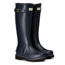 Hunter Wellington Boots Wellies Womens Balmoral Poly Lined Navy Size 8 Eu 42