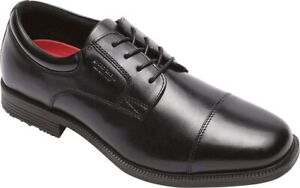 Rockport Essential Details Waterproof Cap Toe Shoes (Men's) in Black Leather