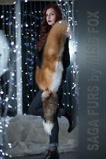 Gold fox fur stole.Detachable tails.SagaFox.