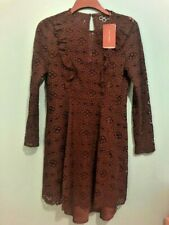 ZARA WOMAN BLACK LACE FRILL VINTAGE STYLE DRESS SIZE LARGE L 10-12 BRAND NEW
