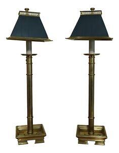 F51042EC: Pair RALPH LAUREN Brass Lamps w. Tole Shades