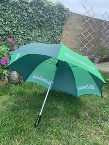 Vintage  Wooden Handled Heineken Beer Advertising Golf Umbrella Clearance Find