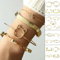 Crystal Golden Leaf Chain Bracelet Set Bangle Alloy Women Jewelry Fashion Gifts