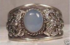Rare Tibet Silver Moonstone Cuff Bracelet