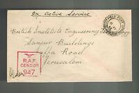 1943 England Field Post Office Censored RAF Cover to Jerusalem Palestine