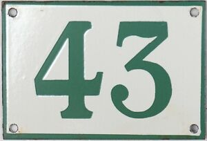 Old green French house number 43 door gate plate plaque enamel steel metal sign
