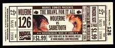 WOLVERINE vs SABRETOOTH Promotional FIGHT TICKET #126 1998 VINTAGE Marvel Comics