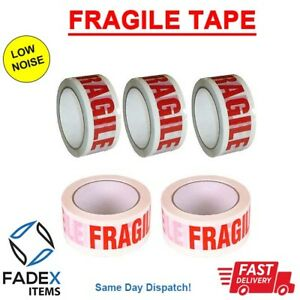 36 x FRAGILE PACKAGING TAPE 48mm x 66M Long LOW NOISE Strong Parcel Tape