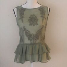 New Walter Baker Gabby Top Green Ruffle Sheer