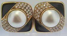 Earrings~Solid 18K Gold, Pave Diamonds 2.50 cts. Mabe Pearls & Black Enamel~DMG