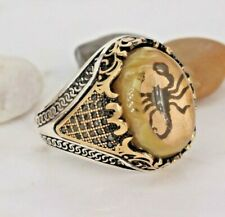 925 Sterling Silver Handmade Gemstone Turkish Agate Scorpion Men's Ring 7-13