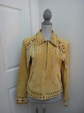 SCULLY~Women's Texas Style Beige GENUINE LEATHER SUEDE Studded Jacket~Size L