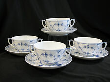 4 ROYAL COPENHAGEN BLUE FLUTED PLAIN #2199 CREAM SOUP BOWLS & SAUCERS