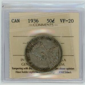 1936 Canada Fifty Cents - ICCS VF-20 Cert#XM369