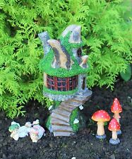 Solar Powered Decorative Garden Ornament Fairy Tree Log House Fairies Set