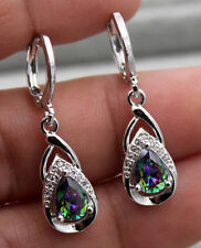 18K White Gold Filled - 1.2'' MYSTIC Topaz  Waterdrop 2-Layer Wedding Earrings