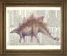 STEGOSAURUS DINOSAUR PRINT: Vintage Monster Reptile Antique Dictionary Art