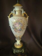 New listing Vintage Urn Style Handpainted Signed Porcelain Brass Base Table Lamp Shade