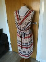 Ladies Dress Size 16 PLANET Nude Red Chiffon Party Evening Wedding