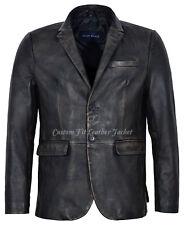 Men's Leather Blazer Black Bronze Millano 2 button 100% REAL NAPA Coat 3450