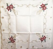 Poinsettia Candles & Stars Tablecloth Cream & Red Scalloped Edges Xia Design 36""