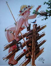 Hilda on fence feeding baby birds from can on worms by Duane Bryers