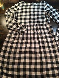 J Jill Long Sleeve Plaid White Button Down Tunic Dress Pockets Size SMALL- Soft!