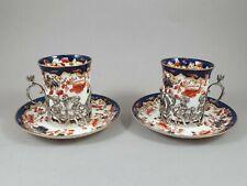 2 tasses et sous-tasses en porcelaine et argent massif Angleterre Japon