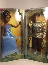 """DISNEY Store Princess Tiana With Frog and Prince Naveen 12"""" Doll Set of 2 NEW"""