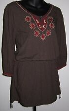 Lucky Brand Brown Tunic Dress Top Sz S Red Beige Embroidered Boho Hippie Tied