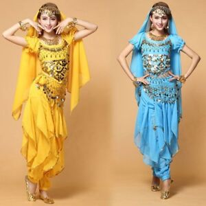 AU Bollywood Belly Dance Costume set Top Pants Belt Veil Carnival Belly Costume