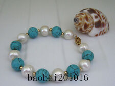 turquoise 9-10MM  SOUTH SEA GENUINE WHITE PEARL BRACELET 14K