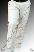 MENS SYNTHETIC LEATHER JEANS THIGH FIT OUTRAGEOUSLY LUXURY PANTS TROUSERS WHITE