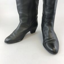 Vtg Bally Size 37 US6 UK4 Black Leather Knee High Mid Heels Pull Up Zip Boots