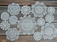 13 Hand Crochet Doilies Lot in bulk Country Wedding White Snowflakes for crafts