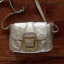 MICHAEL KORS Gold Charlton Small Crossbody Bag Leather Gold Buckle Lock Flap