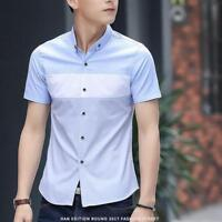 New Summer Men's Slim T-Shirts Short Sleeve Patchwork Holiday Casual Shirts Tops