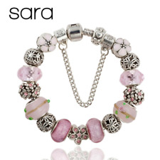 Sara Charm Bracelet Silver Plated European Glass Beads Floral Charms - Pink
