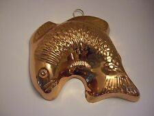 "Vintage Copper Mold FISH  9"" x 9"" Pan Brass Brilliant Shine"