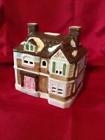Porcelain Hand Painted Christmas Village Colorful 2-story House   Two Chimneys