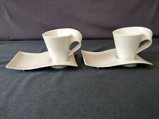 Villeroy & Boch 1748 Luxembourg White New Wave Coffee Cup And Saucer - Set of 2