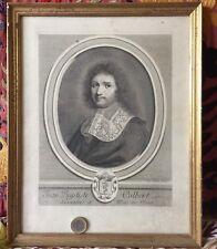 COLBERT J.B MINISTRE LOUIS XIV J.LUBIN GRAVURE XIX ENGRAVING CADRE DORÉ 34x27 cm