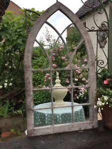 Gothic Arched  Garden Mirror French Grey Verdigris  Victorian Church Style
