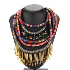 Pendant Ethnic Vintage Boho Necklace Geometric Multilayer Weave Rope Chain TXSU