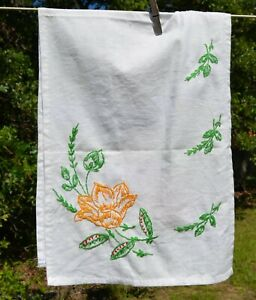"""vintage dish towel/table scarf COTTON   embroidered yellow flower at ends 11x32"""""""