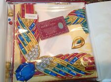 CARTIER SILK LARGE SQUARE SCARF RED/GREEN/BLUE AND GOLD PANTHER & GEMSTONE (NEW)