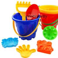set of 7 beach seaside kid bucket spade rake kit sand building molds fun toy
