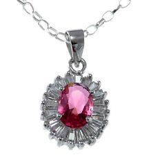 PLATA DE LEY Rubí & Sintético Colgante Con Diamante Collar 45.7cm & Caja regalo