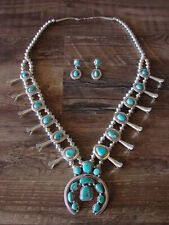Navajo Jewelry Turquoise Squash Blossom Necklace Earrings Set by R. Delgarito